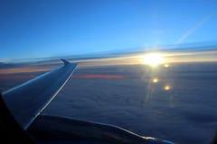 Widok wschód słońca od samolotu Zdjęcie Royalty Free