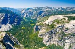 Widok Yosemite dolina na od Przyrodniej kopuły Fotografia Royalty Free