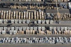 Widok z lotu ptaka ładunku teren duży magazyn Zdjęcia Stock