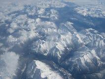 Widok z lotu ptaka śnieżne góry Obraz Stock