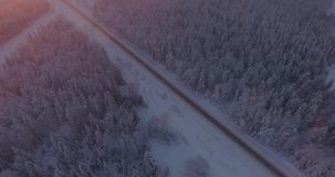 Widok z lotu ptaka śnieżny las z wysokimi sosnami i drogą z samochodem w zimie zbiory wideo