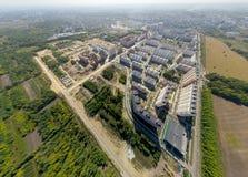 Widok z lotu ptaka śródmieście Rozdroża, domy Obraz Royalty Free