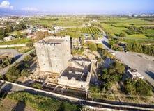 Widok z lotu ptaka Średniowieczny kasztel Kolossi, Limassol, Cypr obrazy stock