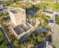 Widok z lotu ptaka Średniowieczny kasztel Kolossi, Limassol, Cypr zdjęcie royalty free