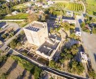Widok z lotu ptaka Średniowieczny kasztel Kolossi, Limassol, Cypr obraz royalty free