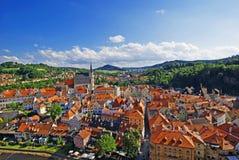 Widok z lotu ptaka średniowieczny miasteczko zdjęcia stock