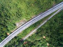 Widok z lotu ptaka Środkowego kręgosłupa CSR Drogowa autostrada lokalizować w Kuala lipis, pahang, Malaysia zdjęcie stock
