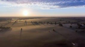 Widok z lotu ptaka świt nad polem w mgle zdjęcie wideo