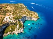 Widok z lotu ptaka Agios Nikolaos błękita jamy w Zakynthos Zante Zdjęcia Stock