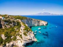 Widok z lotu ptaka Agios Nikolaos błękita jamy w Zakynthos Zante Obraz Royalty Free