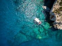 Widok z lotu ptaka Agios Nikolaos błękita jamy w Zakynthos Zante Obrazy Royalty Free