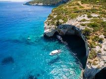 Widok z lotu ptaka Agios Nikolaos błękita jamy w Zakynthos Zante Obraz Stock