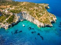 Widok z lotu ptaka Agios Nikolaos błękita jamy w Zakynthos Zante Zdjęcia Royalty Free