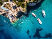 Widok z lotu ptaka Agios Nikolaos błękita jamy w Zakynthos Zante Fotografia Stock