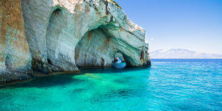 Widok z lotu ptaka Agios Nikolaos błękita jamy w Zakynthos Zante Obrazy Stock