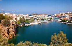 Widok z lotu ptaka Agios Nikolaos z Jeziornym Voulismeni, Crete, Greec Obraz Royalty Free