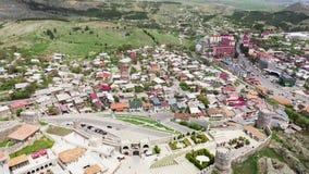 Widok z lotu ptaka Akhaltsikhe miasto, Gruzja zdjęcie wideo