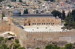 Widok z lotu ptaka Al Aksa meczet na świątynnej górze w Jerozolima, Isra Obraz Royalty Free