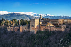 Widok z lotu ptaka Alhambra pałac w Granada Zdjęcia Stock