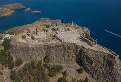 Widok z lotu ptaka antyczny akropol Lindos Fotografia Royalty Free
