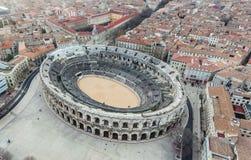 Widok z lotu ptaka antyczny rzymski amphitheatre obrazy stock