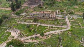 Widok z lotu ptaka archeologiczny miejsce antyczny Delphi, miejsce świątynia Apollo i Oracle, Grecja obraz royalty free