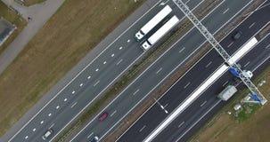 Widok z lotu ptaka A16 autostrada, Zwijndrecht, holandie zdjęcie wideo