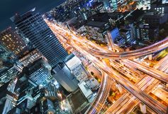 Widok z lotu ptaka autostrady skrzyżowanie w Osaka, Japonia Obraz Stock