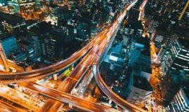 Widok z lotu ptaka autostrady skrzyżowanie w Osaka, Japonia Obrazy Stock