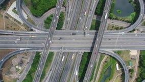 Widok Z Lotu Ptaka autostrady wymiana - Przewieziony pojęcie materiał filmowy zbiory