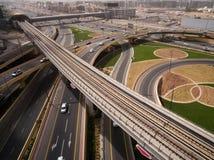 Widok z lotu ptaka autostrady złącze w Dubaj, UAE Fotografia Royalty Free