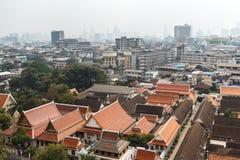 Widok z lotu ptaka Bangkok od Wat Saket Zdjęcia Royalty Free
