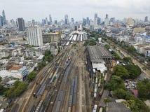Widok z lotu ptaka Bangkok stacja kolejowa Zdjęcia Royalty Free