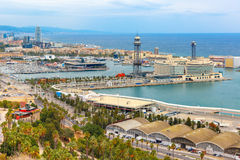 Widok z lotu ptaka Barcelona, Catalonia, Hiszpania Zdjęcia Stock