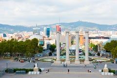 Widok z lotu ptaka Barcelona od Krajowego pałac, Wrzesień 21 2012 Obraz Royalty Free