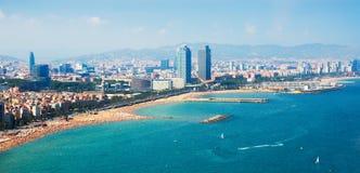 Widok z lotu ptaka Barcelona od morza obraz royalty free