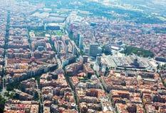 Widok z lotu ptaka Barcelona z Sants stacją od helikopteru Obraz Stock