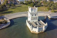 Widok z lotu ptaka Belem wierza - Torre de Belem w Lisbon, Portugalia Obraz Royalty Free
