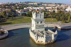 Widok z lotu ptaka Belem wierza - Torre de Belem w Lisbon, Portugalia Zdjęcie Royalty Free