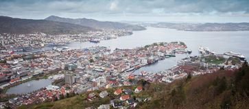 Widok z lotu ptaka Bergen Fotografia Royalty Free