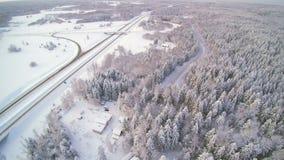 Widok z lotu ptaka biały miasto w zimie zbiory wideo