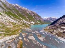 Widok z lotu ptaka blisko Nigardsbreen lodowa w Nigardsvatnet Jostedalsbreen parku narodowym w Norwegia w słonecznym dniu Obraz Royalty Free