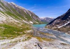 Widok z lotu ptaka blisko Nigardsbreen lodowa w Nigardsvatnet Jostedalsbreen parku narodowym w Norwegia w słonecznym dniu Zdjęcia Stock