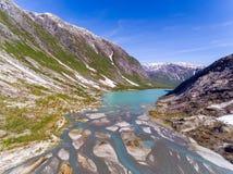Widok z lotu ptaka blisko Nigardsbreen lodowa w Nigardsvatnet Jostedalsbreen parku narodowym w Norwegia w słonecznym dniu Obrazy Royalty Free