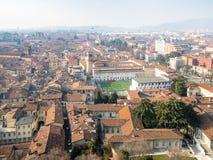widok z lotu ptaka Brescia miasto z stadionem futbolowym fotografia royalty free