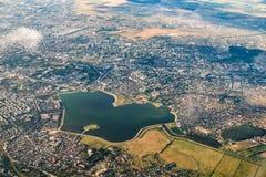 Widok z lotu ptaka Bucharest miasto Fotografia Stock