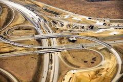 Widok z lotu ptaka budowa nowa autostrady rampa w amerykaninie Obraz Royalty Free