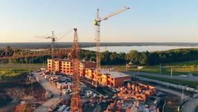 Widok z lotu ptaka budowa, plac budowy, projekta miejsce 4K zdjęcie wideo