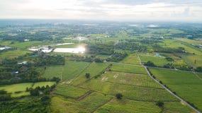 Widok z lotu ptaka budynek mieszkalny z typowy ryżu agri lub uprawiać ziemię Obraz Stock