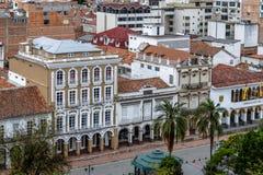 Widok z lotu ptaka budynki pobliski Parkowy Calderon, Cuenca -, Ekwador zdjęcie royalty free